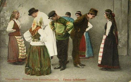 Finnish Folk Dancers Vintage Postcard