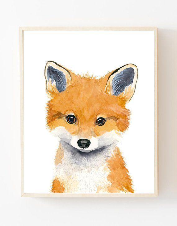 Watercolor fox cub, animal paintings, fox, baby fox,woodland nursery, Childrens Wall Decor, Kids Art Print, neutral nursery, baby boy