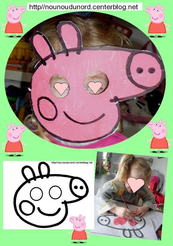 Masque Peppa pig pour le carnaval réalisé par Maïa bientôt 3 ans.  gabarit à imprimer sur mon lien http://nounoudunord.centerblog.net/4619-masque-peppa-pig-pour-le-carnaval-realise-par-maia