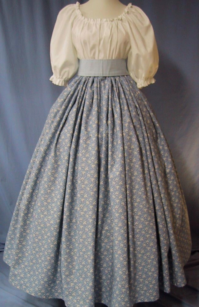 Historical Costume Long Skirt - Wedgwood Blue Floral Print Cotton - Colonial, Pioneer, Civil War Reenactments.