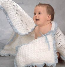 Baby Blanket   & PillowBaby Afghans, Blankets Afghans, Clothing Crochet, Blankets Pillows, Baby Blankets, Crochet Baby Clothing