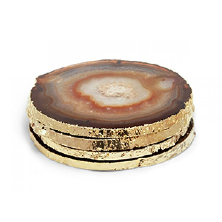Aerin Lauder, Set of 4 Agate Coasters - Natural, Buy Online at LuxDeco