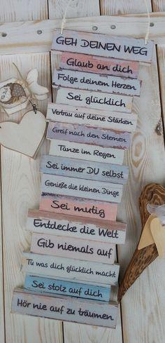 Wanddeko - Dekoschild - Geh Deinen Weg - mit Holzherz - ein Designerstück von Gifts-from-the-heart-by-Sunny bei DaWanda