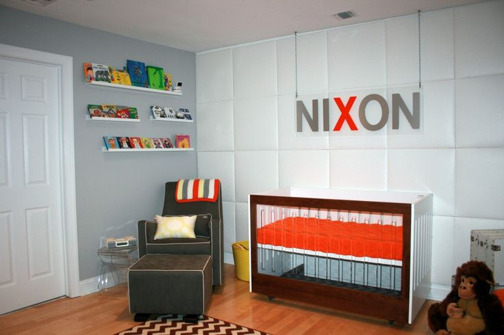 Modern Nursery with orange pops of orange - #nursery #modern: Colors Trends, Wall Bookshelves, Modern Kids, Modern Boys Nurseries, Bedrooms Colors, Modern Nurseries, Nurseries Ideas, Kids Rooms, Baby Nurseries