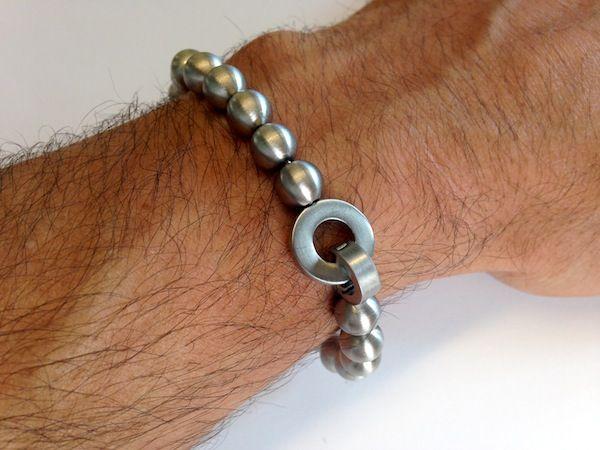 Mens Steel Beaded Bracelet featuring Stainless Steel Ball Pendants. Smart adjustable size bracelet to fit any size wrist from Minor Detail Jewellery for Men. #MensBracelet #Bracelet #Cudworth #MensJewellery