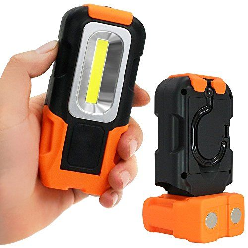 Portable LED Work Light, 200 Lumens Multi-use COB Flashlight, Magnetic Base & Hanging Hook, Battery-operated 5000K Daylight, 120° Beam Angle Flood Light, for Car Repairing, Blackout and Emergency. For product info go to:  https://all4hiking.com/products/portable-led-work-light-200-lumens-multi-use-cob-flashlight-magnetic-base-hanging-hook-battery-operated-5000k-daylight-120-beam-angle-flood-light-for-car-repairing-blackout-and-emerg/