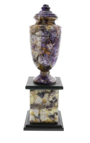 A Blue John pedestal urn The ovoid urn with fixed …
