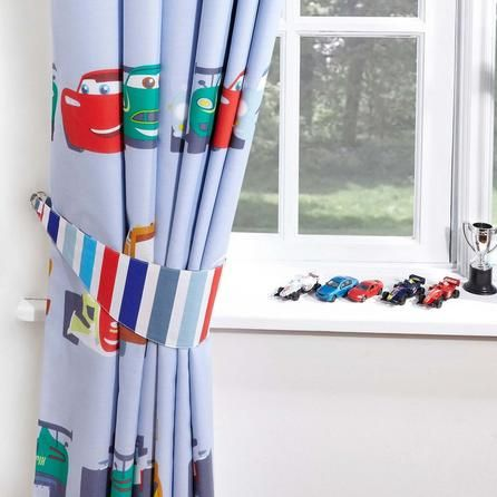 Disney White, Red and Blue Cars Blackout Pencil Pleat Curtains