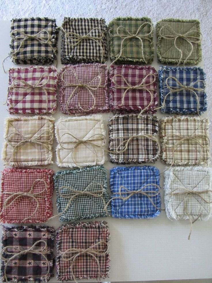 Homespun rag quilt coasters set of 4 18 color choices