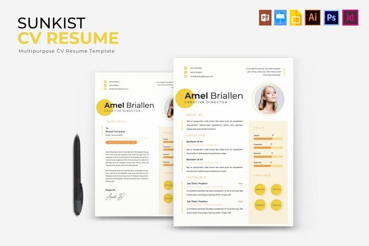 Sunkist Cv Resume 786799 Resume Templates Design Bundles Resume Design Template Resume Templates Templates