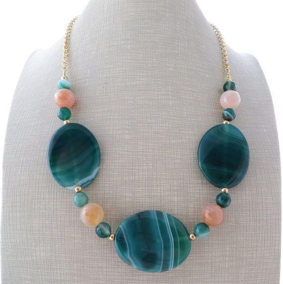 Green agate necklace bib necklace gemstone choker by Sofiasbijoux