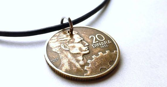 Yugoslavian Coin necklace Coin jewelry Serbian Croatian