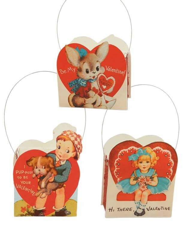 "Bethany Lowe Valentine/'s Day Bucket Boy Girl Or Bunny 4-1//2/"" High  LC5442 UPick"