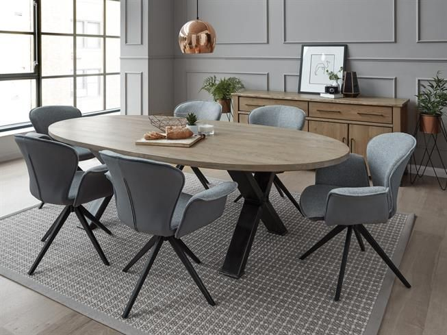 Barkington Oval Dining Table With Forged Steel Cross Legs Buy