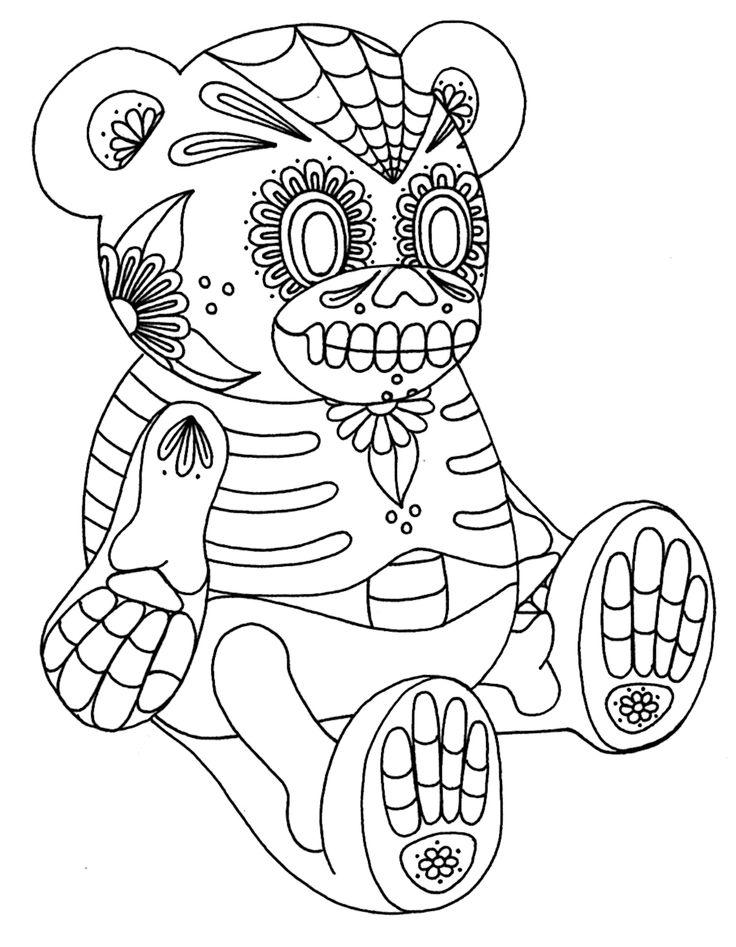 Yucca Flats Wenchkins Coloring Pages Sugar Skull Bear
