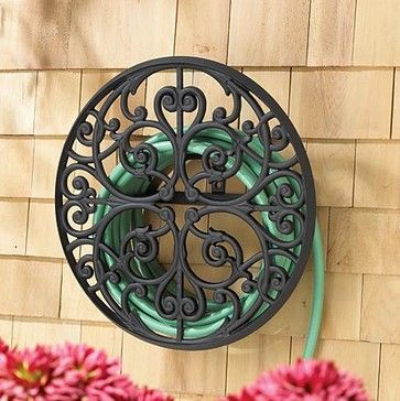 Garden Hose Storage Ideas dual swiveling pole mounted garden hose reels Scroll Aluminum Hose Holder Traditional Irrigation Equipment