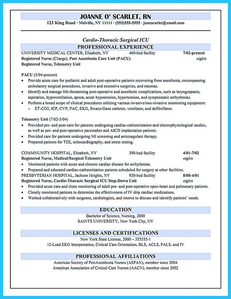awesome high quality critical care nurse resume samples - Resume Examples For Registered Nurse