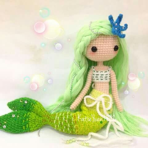Amigurumi green mermaid. (Inspiration). ♡