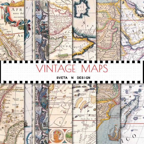 Vintage maps digital paper - antique maps of europe, america and the world for invitations, cardmaking, scrapbooking - set #3