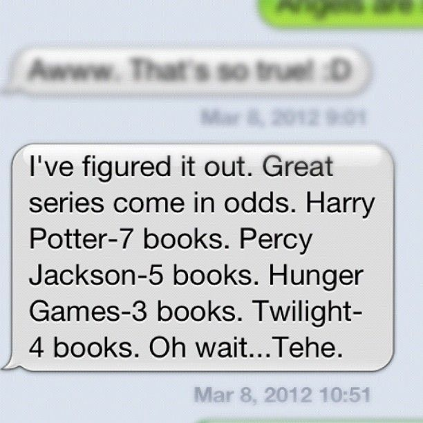 True. Chronicles of Narnia- 7: Books, The Mortal Instruments, Kane Chronicles, Hunger Games, Artemis Fowl, Harry Potter, Divergent Funny Texts, Fandom, Percy Jackson Funny Texts