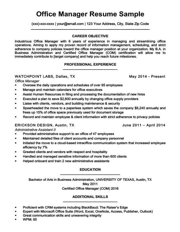 Business Management Resume Templates Job Resume Samples Resume Office Manager Resume