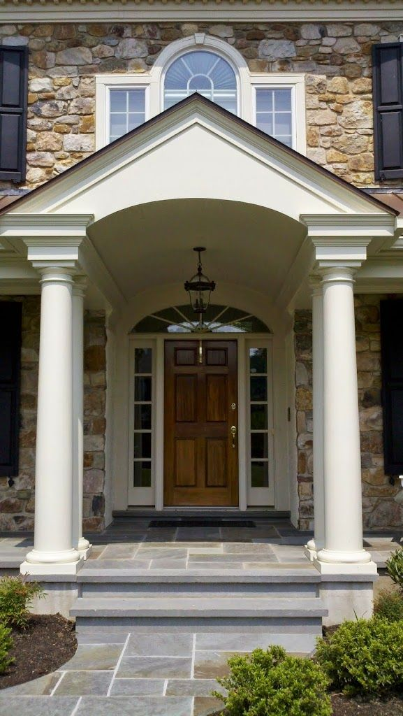 Design Front Porches And House Exterior Design: Front Porch Addition With Barrel Vault Entry, Flagstone Floor And Standing Seam Copper Roof