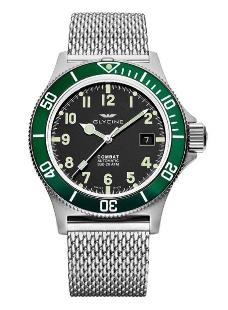 Glycine Combat Sub Black Dial Steel Bracelet Automatic Men's Watch GL0091 - Glycine - Watches - Jomashop