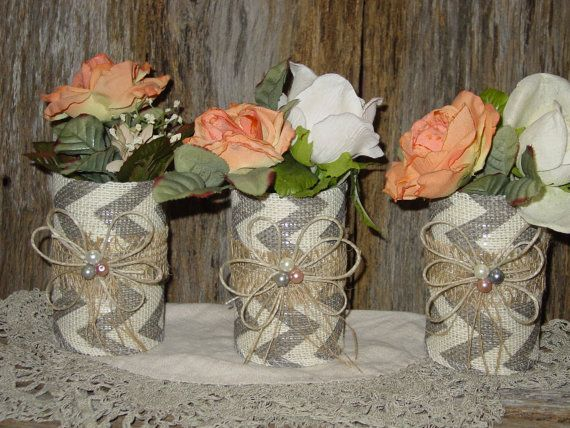 tin can taupe chevron burlap centerpiece repurposed weddings reception decorations flower vase centerpiece country rustic vases cottage chic...