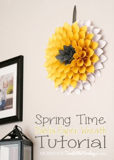 Paper Dahlia Wreath Tutorial for Spring (Under $10 to Make)! papercraft diy flowers spring summer crafts idea
