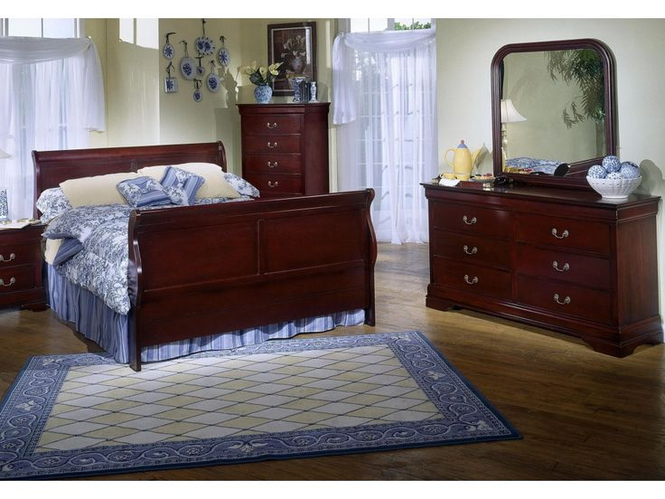 Lifestyle Louis Phillipe Queen bed, Dresser and Mirror - Royal Furniture - Bedroom Groups