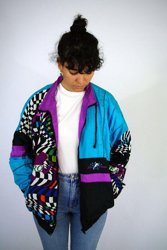 7d7c1a5d3892 Vintage 80s Sport Sweat Suit Windbreaker Tracksuit Color Block Old school  Jacket Trainer Neon Fluo Blue Psychedelic Men Women mens L Large