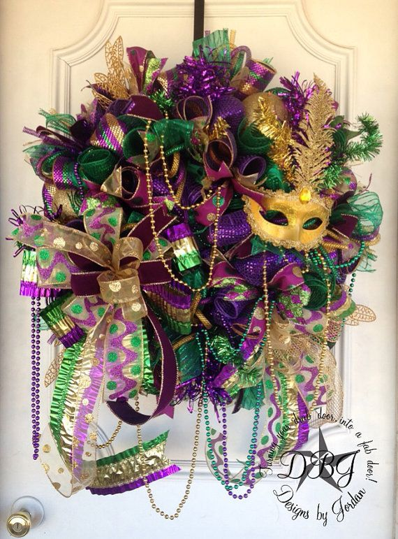 Deluxe Mardi Gras Deco Mesh Wreath by DesignsbyJordanTX on Etsy, $135.00