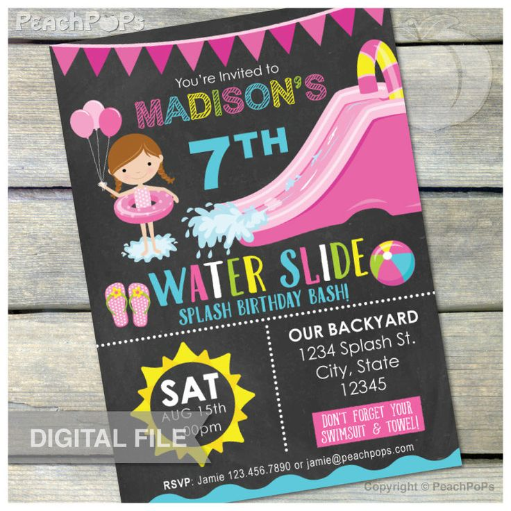 17 Best images about Invitations for my party – Water Slide Party Invitations