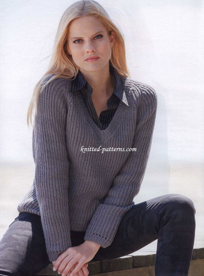 Brioche rib pullover with V-neck. Knitted-Patterns.com. Free pattern.