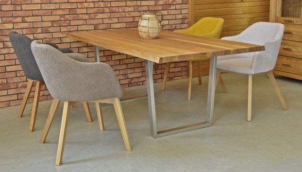 Inox oak table with chairs