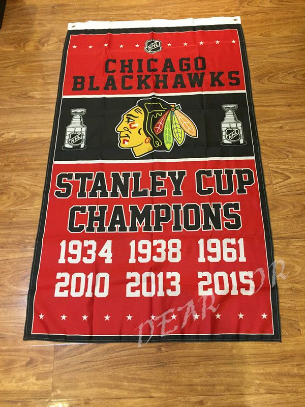 Chicago Blackhawks Flag 3x5 Banner NHL Stanley Cup Champions club polyster  #Unbranded
