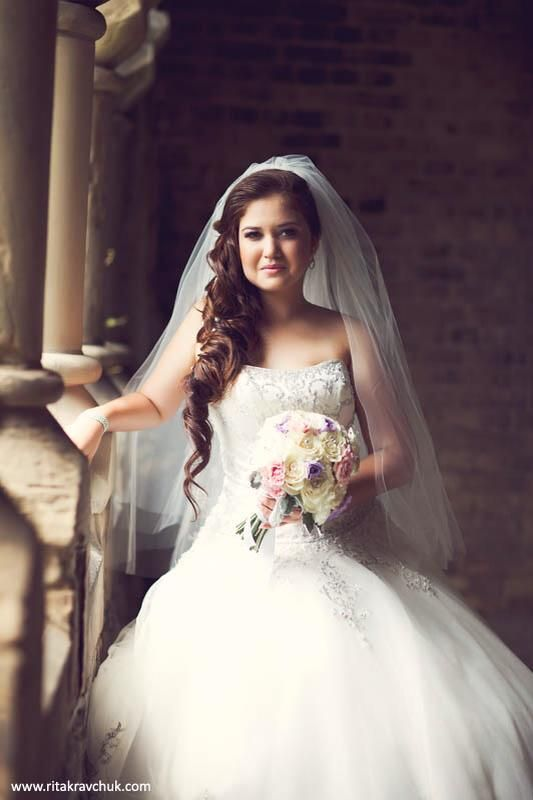 Stunning Brunette Bride Wearing Fancy Hair Extensions