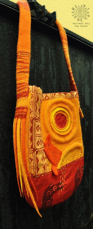 "Сумка ""Калахари"" - женская сумка,оригинальная сумка,валяная сумка,жёлтый"