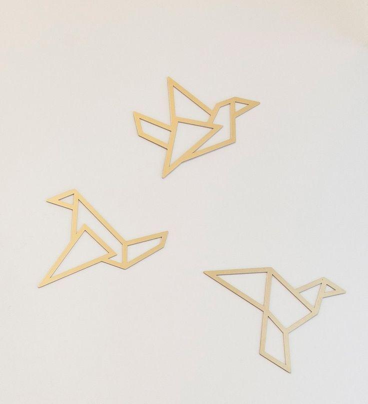 Set Of 3 Gold Origami Birds By Glyphs Metal Wall Art Wall Hanging Home Decor Metal Bird Wall Art Geometric Wall Decor Metal Wall Decor