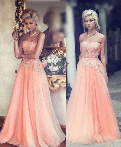 Long prom Dress,Peach Prom Dresses,2016 prom Dress,Charming prom dress, Evening dress,BD048