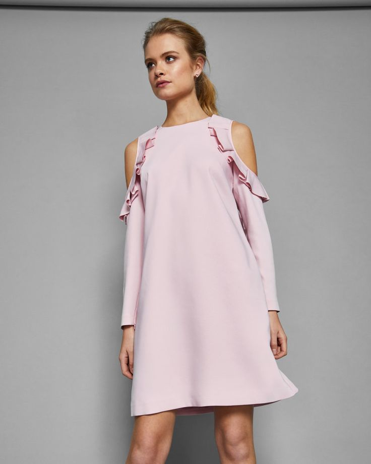 Cold shoulder frill detail dress - Dusky Pink | Dresses | Ted Baker UK