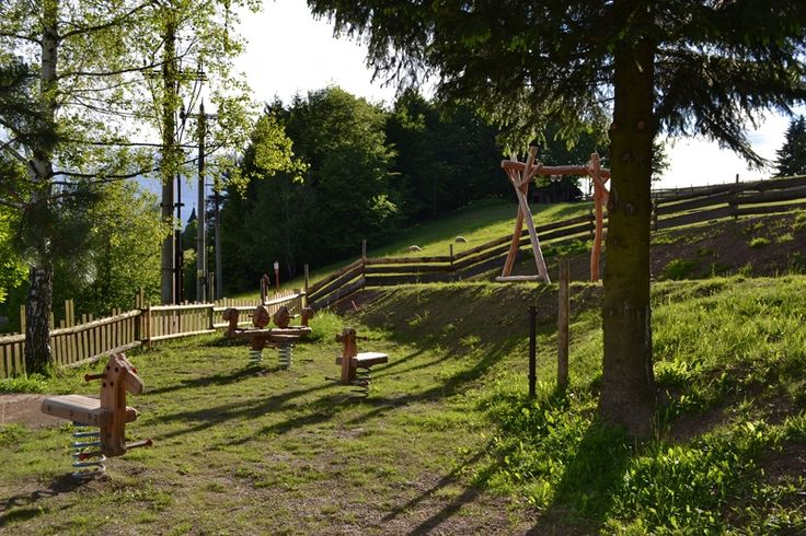 Children's playground at Horsky Hotel Solan, Beskydy, Czech Republic.