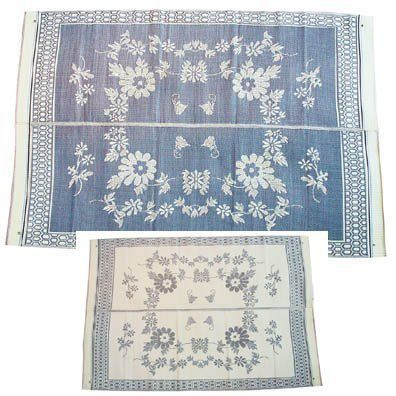 Patio Mats 012 9' x 12' Blue Floral Pattern Reversible Patio Mat by Patio Mats. $74.99. suitable for both indoor and outdoor used. Light weight, easy to wear out. This high UV stabilized mat is made of 100% polyproylene, smooth surface.. Beautiful reversible designs. This Beautiful mat is made of 100% high Qualty polyproylene. It is reversible. It is suitable for both indoor/outdoor, mold resistant, light weight, easy  to clean, UV stabilized for increase...