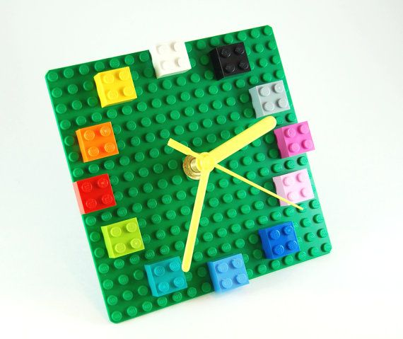 Lego clock! Drill hole in square green base plate, add clock mechanism and add favorite blocks for numbers
