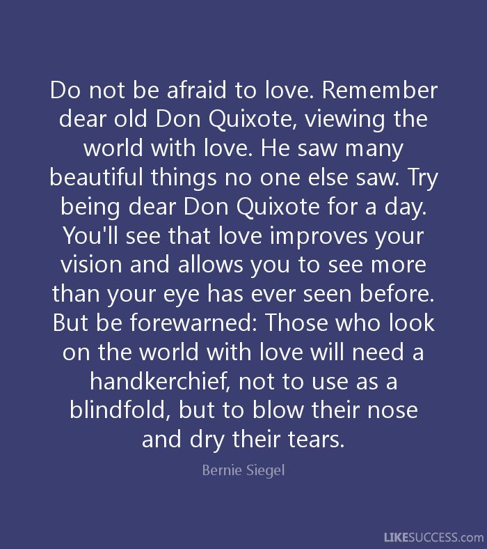 Do not be afraid to love. Remember dear old Don Quixote, viewing the world with love. He saw many beautiful things no one else saw. Try being dear Don Quixote for a day. You'll see that love improves your vision and allows you to see more than your eye has ever seen before. But be forewarned: Those who look on the world with love will need a handkerchief, not to use as a blindfold, but to blow their nose and dry their tears. - Bernie Siegel