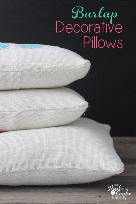 Burlap Summer (or any season) Decorative Pillows Sewing patterns, Decorative pillows and Burlap