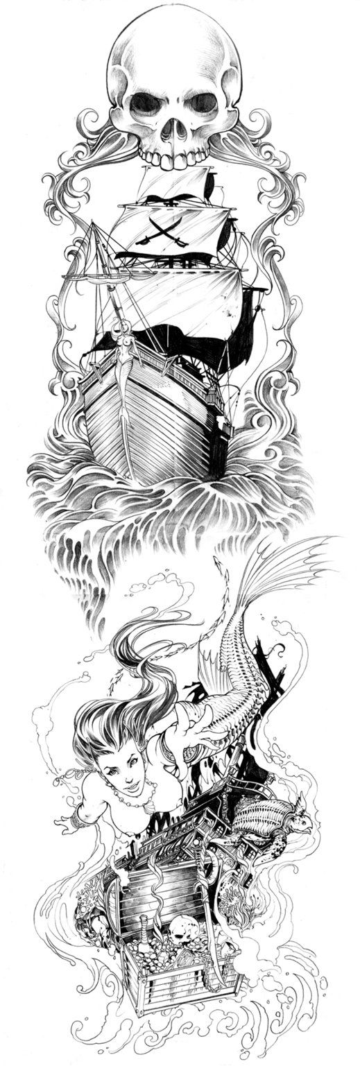 i like this for a sleeve,maybe better detail in the skull or make it the captains head..
