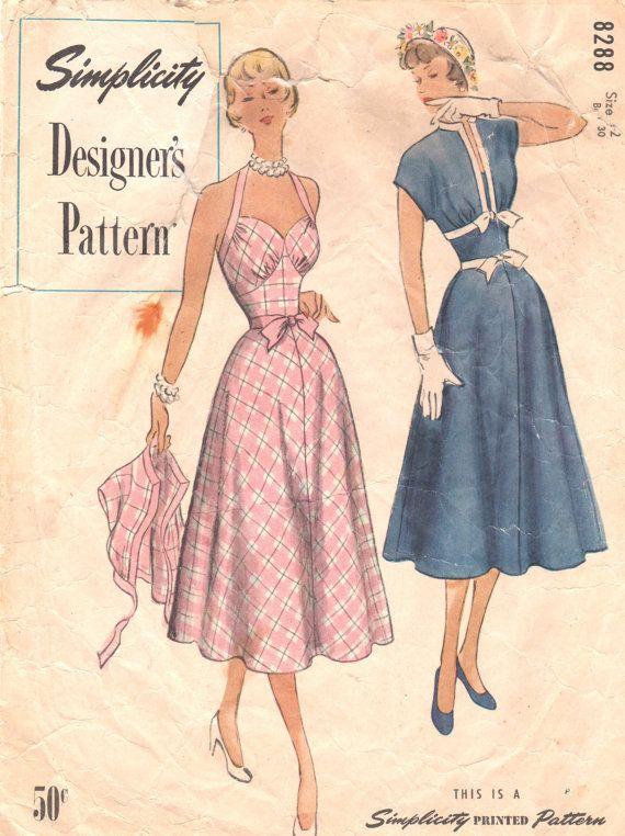 Simplicity 8288 1950s Pin Up Style Halter Sundress  Bolero Pattern Sweetheart Neck Sexy Midriff  Womens Vintage Sewing Pattern Size 12 B 30 on Etsy, $45.00