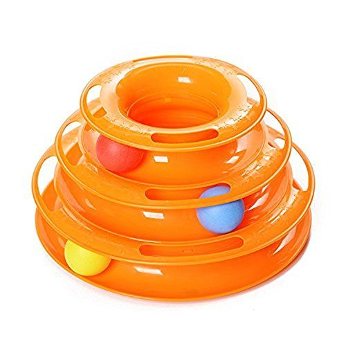 JJUMUU Pet Three Levers Tower of Tracks Interactive Cat Toys Pet Ball Toys Amusement Plate for One or More Cats (Orange)