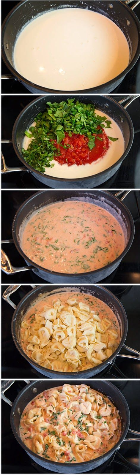 Creamy Spinach Tomato Tortellini - cookclouds. Minus the spinach and I bet this would be tasty.